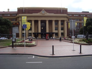 Wellington Railway Station - as a student gag at graduation time, we had a champagne pyjama party outside here one morning